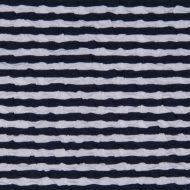 Cloqué-Stretch weiss-blau