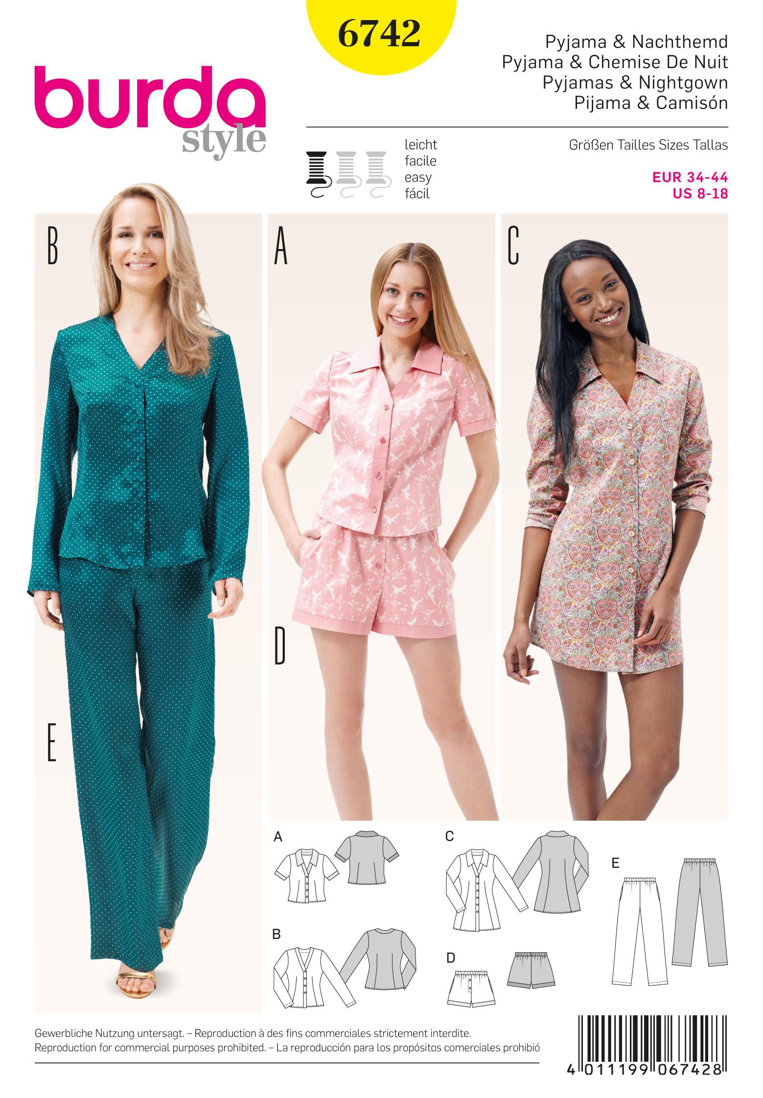 d121ce0db30dcd Schnittmuster Pyjama & Nachthemd – Stoffzentrale AG